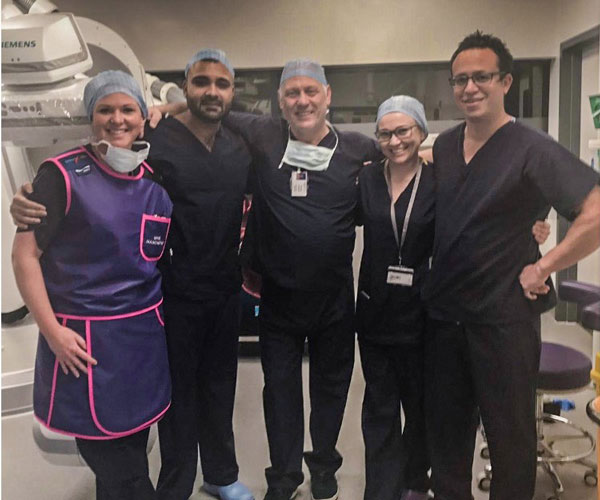 Cardiologists, doctors and nurses who carried out the first-ever complex pacemaker implantation at Spire Manchester